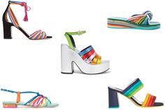 Rainbow Brite - Tabitha Simmons sandals, $845, net-a-porter.com; Chloé knot sandals, $389, fwrd.com; Alice + Olivia sandals, $330, aliceandolivia.com; Sophia Webster, $416, farfetch.com; MR by Man Repeller sandals, $520, net-a-porter.com.