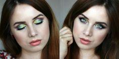 Sleek eyeshadow palette. Green and purple makeup look.