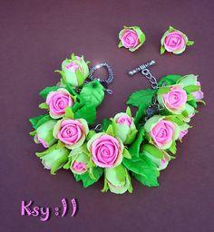 Roses Bracelet.Roses Earrings.Pink Roses.Pink by BeatifulByKsy
