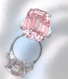 The Pink Panther diamond will sell for record sum, million. The Pink Panther diamond weighs 25 carats and was created by Harry Winston. For the past 60 years, it's been in a private collection but will exchange hands (and owners) next month. Pink Diamond Engagement Ring, Pink Diamond Ring, Diamond Girl, Solitaire Engagement, Pink Jewelry, Diamond Jewelry, Jewlery, Jewelry Box, Pink Panther Diamond