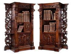 Pair of Italian Walnut Library Cabinets, 19th Century.