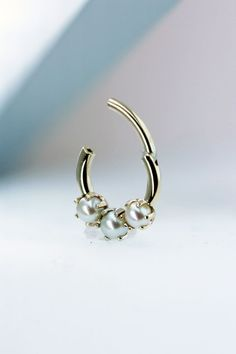 16 gauge Pearl Septum Clicker made with 3 genuine pearls for one of our best co-workers!!!