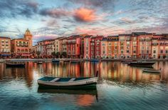 This is a beautiful resort in Orlando, over at Universal Studios. The lake is filled with a bunch of little boats, each of which has a different little Italian girl's name on the back. - Trey Ratcliff