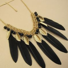 Cheap fashion chunky necklaces, Buy Quality necklace photo directly from China fashion bead necklace Suppliers:No min Order Black and White Gold Plated Vintage Feather Necklace Women Fashion Necklaces for Women 2014US $ 4.79/pieceF