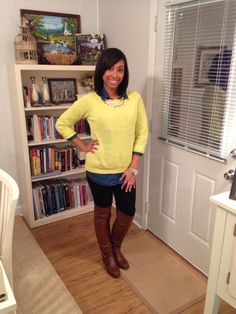 Neon green sweater outfit for thanksgiving