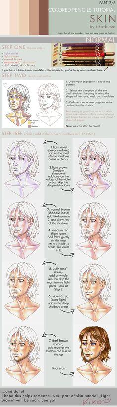 Colored pencils tutorial SKIN part 2 - NORMAL by kiko-burza on DeviantArt