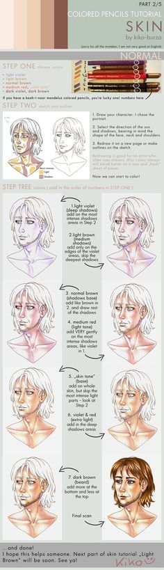 Colored pencils tutorial SKIN part 2 - NORMAL by kiko-burza on DeviantArt