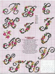 floral alphabet (other letters are in gallery) Cross Stitch Letters, Cross Stitch Rose, Cross Stitch Charts, Cross Stitch Designs, Embroidery Alphabet, Embroidery Monogram, Embroidery Patterns, Stitch Patterns, Cross Stitching