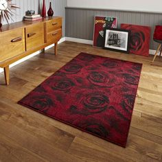 Art twist t132 rose rugs in black red buy online from the rug seller uk