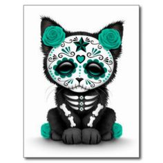 Cute Teal Blue Sugar Skull Day of the Dead Kitten