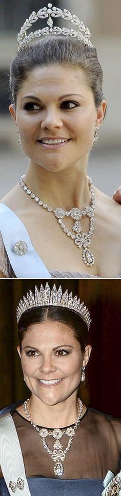 Queen Josefinas of Sweden diamond corsage necklace. Photo 1; Crown Princess Victoria at Princess Madeleine and Chris O¨Nieals wedding 2012 Photo 2; Crown Princess Victoria at the second nobel dinner at stockholm castle