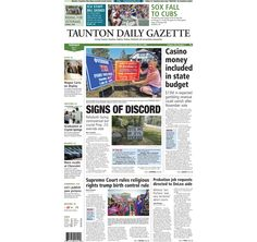 The front page of the Taunton Daily Gazette for Tuesday, July 1, 2014.