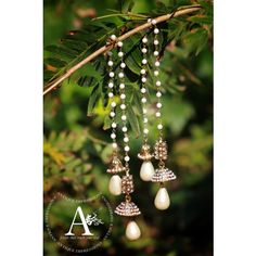 Kashmiri bells earrings golden color with pearls flower crystal kundan kashmiri jhumka earrings