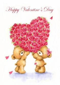 Valentines Day Bears, Happy Valentines Day, Valentine's Day Quotes, Broccoli, Card Ideas, Happy Birthday, Greeting Cards, Hearts, Teddy Bear
