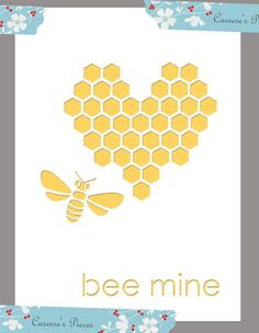 handmade Valentine card: Bee Mine ... heart of hexagons and bee Overlay SVG and PDF files ... great design ... white over yellow  ... purchase file at CareesesPieces on Etsy ...