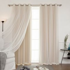 Aurora Home Lace Overlay Blackout Grommet Top Curtain Panel Pair | Overstock.com Shopping - The Best Deals on Curtains