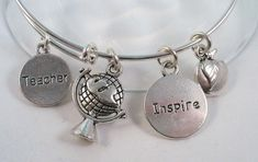 Sold and Re-LIsted Silver Bangle Bracelet, Teacher Gift Theme, Alex and Ani Style, $15.00