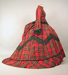 Red tartan plaid silk taffeta dress with green fringe, c. late 1860s.