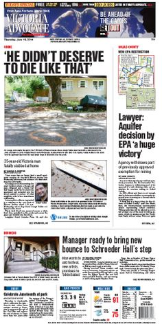 Here is the front page of the Victoria Advocate for Thursday, June 19, 2014. To subscribe to the award-winning Victoria  Advocate, please call 361-574-1200 locally or toll-free at 1-800-365-5779. Or you can pick up a copy at one of the numerous locations around the Crossroads region.