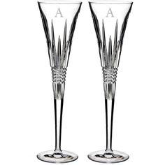 Waterford Lismore Diamond Set Of 2 Monogram Lead Crystal Champagne... ($160) ❤ liked on Polyvore featuring home, kitchen & dining, drinkware, clear, waterford, waterford champagne flutes, twin pack, lead crystal champagne flutes and monogrammed champagne flutes