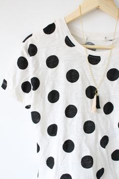 DIY tassel necklace and polkadot shirt