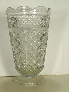 """Rare Vintage Very Big & Heavy Clear Crystal Glass VASE 10"""" Tall 6"""" across top"""