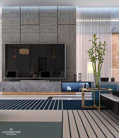 Basement modern living on Behance Home Room Design, Living Room Designs, Living Rooms, Luxury Living, Modern Living, Lcd Wall Design, Modern Wall Paneling, Lcd Units, Tv Cabinet Design