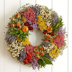 This would look perfect on my door!   Williams and Sonoma Beautiful Dried Flower Wreath!