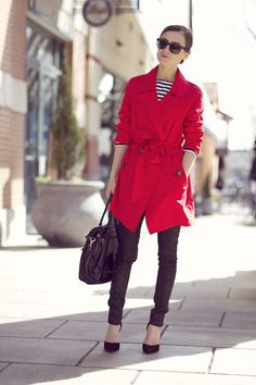 coral red trench + black skinnies + black and white striped top