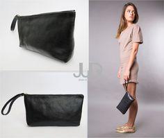 Black leather zipper clutch  soft leather purse wristlet by JUDtlv