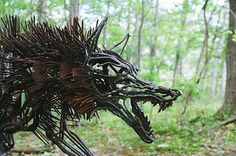 sculpture of a wolf formed from thick rusting iron wire Wolf Sculpture, Dark Forest, Werewolf, Beautiful Words, Artsy Fartsy, Bald Eagle, Mystic, Beast, Awesome