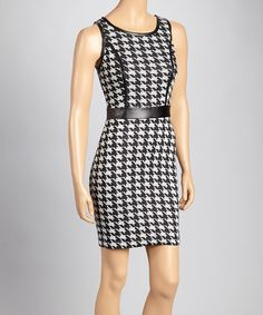 Take a look at this Black & White Houndstooth Dress by Bailey Blue on #zulily today!