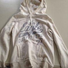 American eagle light sweatshirt sparkly Size XS/S cream/off-white sweatshirt perfect condition American Eagle Outfitters Tops Sweatshirts & Hoodies