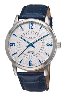 Price:$99.99 #watches Stuhrling Original 345.3315C16, The handsome Men's Jupiter timepiece begins with a round stainless steel case constructed of 316L Surgical Grade Stainless Steel. This men's watch features A date dial with the current date indicated in red while a day of the week window shows above 6:00. IT comes on a crocodile embossed genuine leather strap and is water resistant to 50 meters.