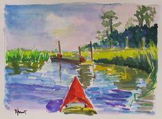 Gouache - Linda Hunt Fine Art Salt Marsh, Gouache, Fine Art, Landscape, Painting, Color, Scenery, Painting Art, Colour