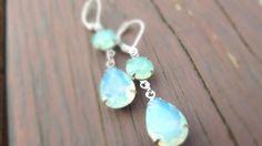 Mint green Earrings Pacific Opal Aqua blue Swarovski Earrings Teardrop Drop Vintage Estate Style Dangles