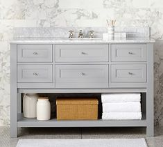 Classic Single Wide Sink Console - Gray #potterybarn