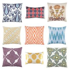 Great site for throw pillows. Looking here for bedroom pillows for our daughter. #bedroompillows #greatpatterns