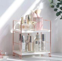 Rose Gold Storage Rack – Still Serenity Iron Storage, Storage Rack, Storage Shelves, Shelf, Cosmetic Storage, Makeup Storage, Makeup Shelves, Makeup Collection Storage, Bathroom Organization