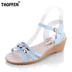 98193ea1555e59 TAOFFEN Ladies Wedges Sandals Ankel Strap Metal Summer Shoes Women Open Toe  Beach Party Leisure Female
