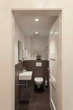 Space Saving Toilet Design for Small Bathroom In the event that you are one of the a huge number of individuals around the globe who needs to bear the claustrophobia of a little restroom, help is within reach. Space Saving Toilet, Small Toilet Room, Guest Toilet, Downstairs Toilet, Guest Bath, Bathroom Layout, Bathroom Interior, Modern Bathroom, Small Bathroom