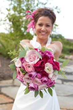 Brides pink and fuschia wedding bouquet -The remake!