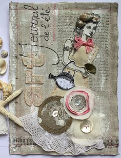 Mermaid art journal working with Character Constructions art stamps