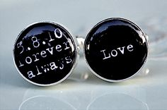 Personalized cufflinks - vintage typewriter font personalized cufflinks - keepsake, groom, groomsmen gift, wedding Love always. $42.00, via Etsy.