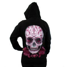Purple Leopard Boutique - Black Zipper Hoodie Sweatshirt Day of the Dead Skull