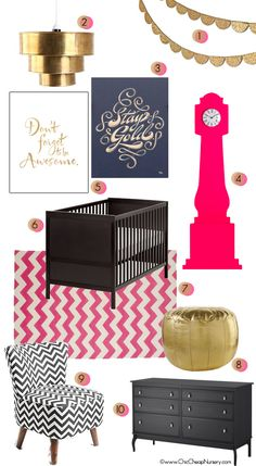 Baby Girl Nursery Mood Board Black Pink Gold Glam - rug, crib & chair
