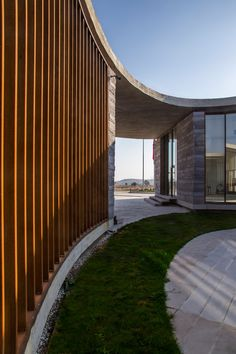 The Farm of by Slash Architects & Arkizon Architects in Afyon Tazlar, Turkey Public Architecture, Industrial Architecture, Amazing Architecture, Architecture Design, Landscape Architecture, Modern Entrance, Entrance Gates, Garden Entrance, Circular Buildings