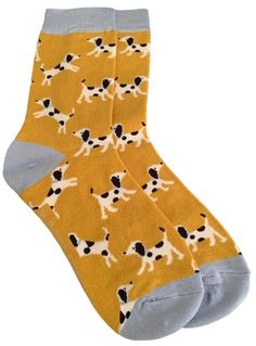 Ladies yellow socks with a Dalmatian dog pattern. £7.95 with FREE UK Delivery. Excellent quality, soft and stretchy bamboo / Cotton blend fabric ( 54% Bamboo, 22% Cotton, 16% Polyester, 6% Nylon, 2% Elastane ) One size ( Ladies UK Shoe size 4 - 7 ) Yellow Bamboo, Yellow Socks, Bamboo Socks, Dalmatian Dogs, Dog Pattern, Girls Socks, Free Uk, Mustard Yellow, Cute Dogs