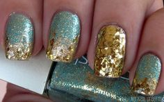 turquoise and gold glitter