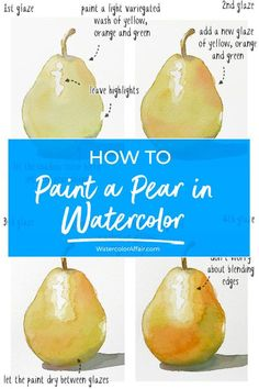 step by step tutorial for beginners - Aquarell Malen Watercolor Pencil Art, Watercolor Fruit, Watercolor Journal, Watercolor Tips, Fruit Painting, Watercolour Tutorials, Watercolour Painting, Watercolours, Painting Tutorials